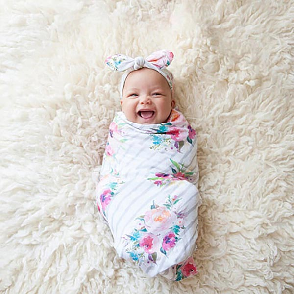 Floral -Newborn Baby Organic Swaddle