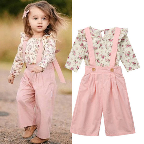 54808262a Toddler Girl 2-Piece Top & Suspenders Pant Set – CareBabyShop