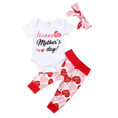 Mother's Day Heart Printed Baby Suit