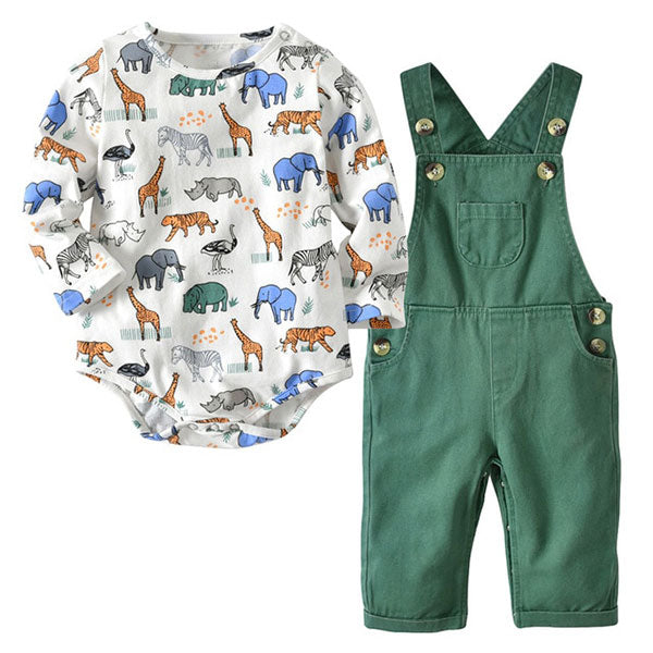 Animal Print Romper & Bib Pants - Baby Outfit Set