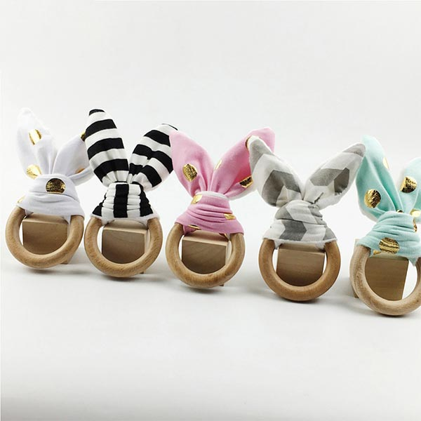 Bunny Ear Wooden - Baby Organic Teether