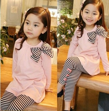 Esmée - Toddler Girl Top & Striped Legging Set