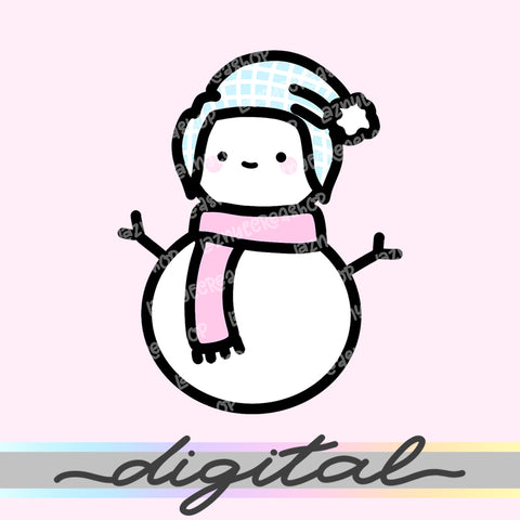 Printable Planner Cute Snowman Diecut, Winter, Christmas, Snow, Kawaii Doodle, Clipart, Clip arts, PNG, Download