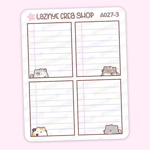 Box Notebook Cat Stickers, Cute Planner Stickers, Box Stickers, Planner Stickers, Bullet Journal Stickers, Hand Draw Stickers, Doodle Stickers