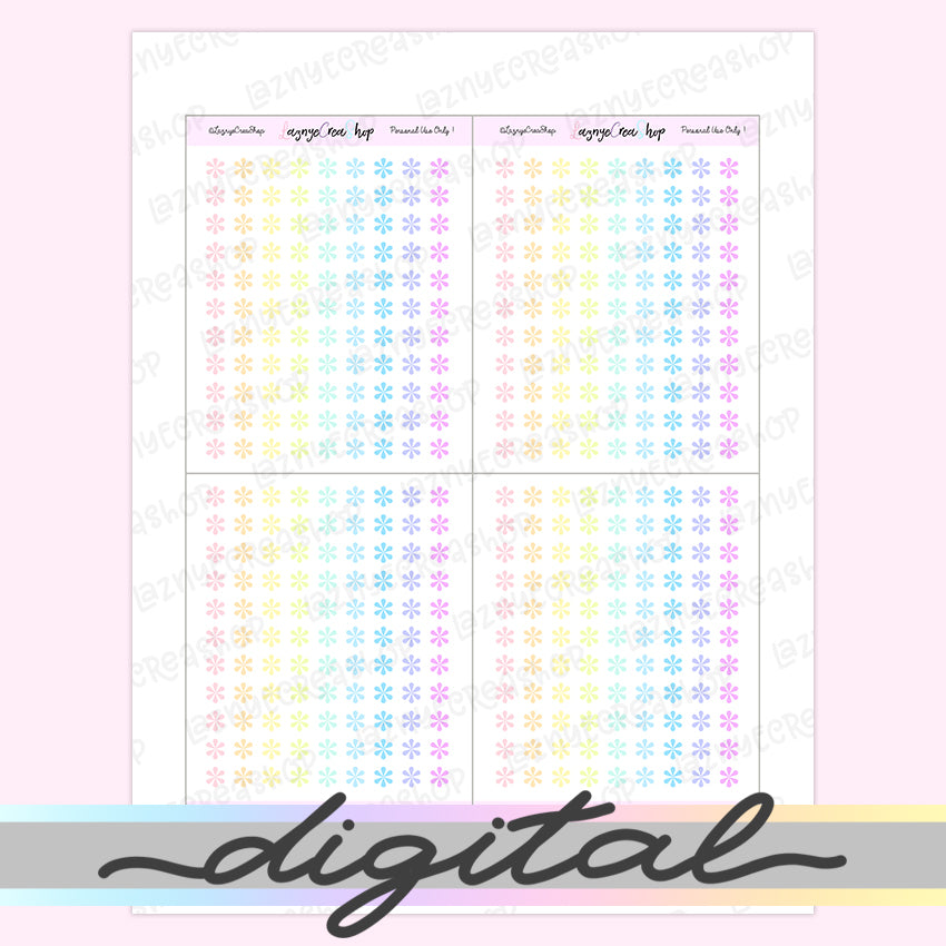 Printable Tiny Asterix Stickers, Coding Stickers, Code, Rainbow, Pastel, Erin Condren, Functional, Happy Planner, Bullet Journal