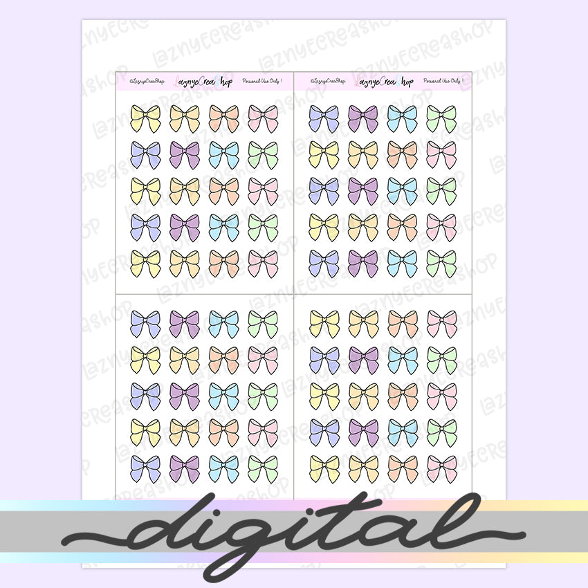 Printable Bow Planner Stickers, Pastel, Rainbow, Digital, Doodle, Hand Draw, Functional, Deco, TN Erin Condren Happy Planner Bullet Journal