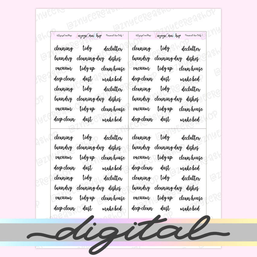 Printable Cleaning Word Script Stickers, Declutter, Tidy Up, Dishes, Vacuum, Dust, Make Bed, Functional, Planner Stickers, Bullet Journal