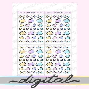 Printable Tiny Cloud Stickers, Rainbow Stickers, Coding Stickers, Code, Pastel, Erin Condren, Functional, Happy Planner, Bullet Journal