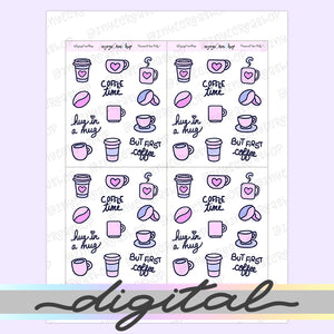 Printable Coffee Stickers, Coffee Cup, Hand Draw Stickers, Doodle Stickers, Bullet Journal Stickers Functional Stickers Kawaii Cute