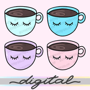 Printable Coffee Cup Die Cuts, Lashes Coffee Cup Clip Art, Planner Die Cuts, Clip Art, PNG, Download, Cliparts