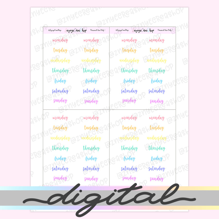 Printable Weekday Word Stickers, Rainbow, Pastel, Day of the Week, Planner Stickers, Functional Stickers, Bullet Journal Stickers