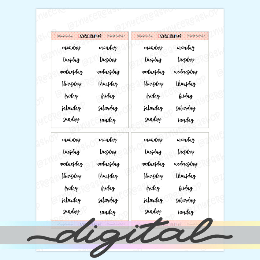 Printable Weekday Word Stickers, Day of the Week, Functional, Planner Stickers, Bullet Journal Stickers