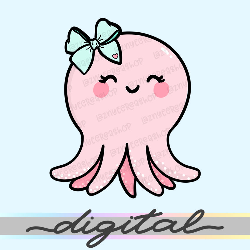 Printable Planner Cute Octopus Die Cuts, Kawaii Doodle, Clipart, Clip arts, Foxy Fix, TN, Traveller's Notebook, PNG, Download