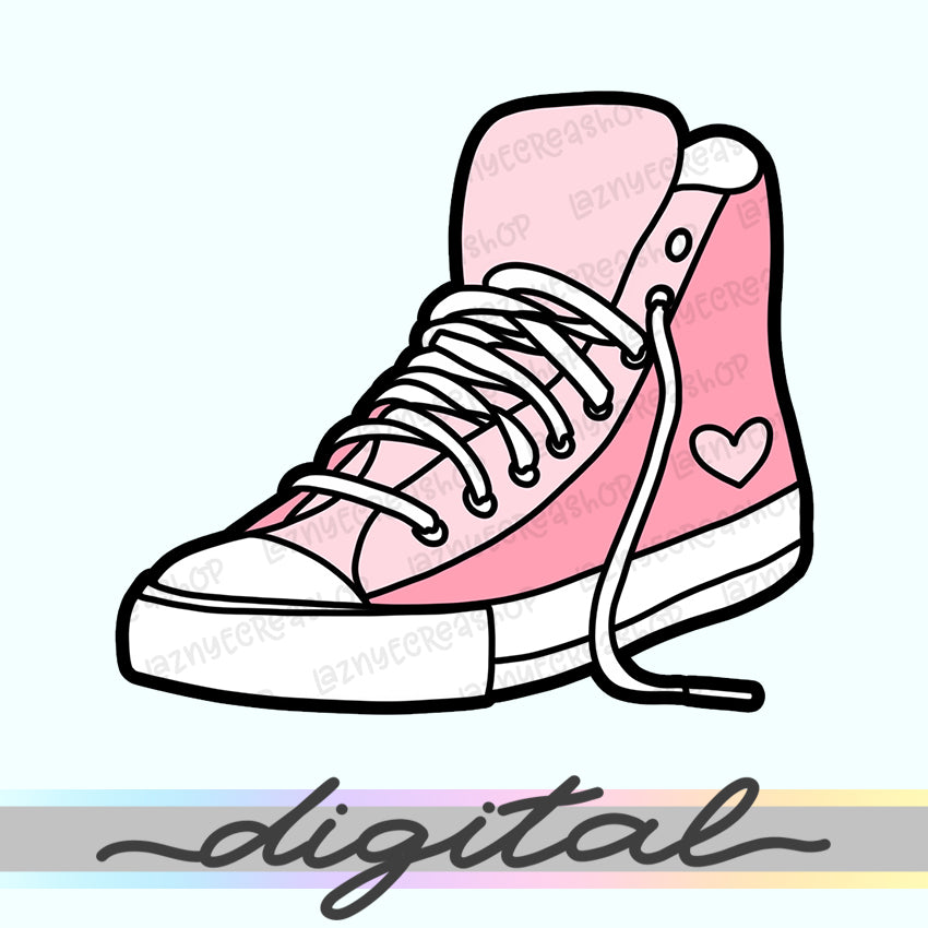 Printable Shoe Diecut, Hand Draw, Diecut, Pastel, Cute, Planner, Kawaii, Doodle, Clipart, Clip arts, PNG, Download