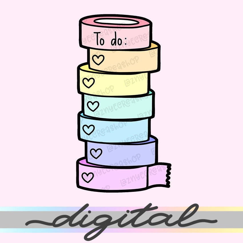 Printable Washi Diecut, To Do Washi Tape Rolls, Rainbow, Hand Draw, Diecut, Pastel, Cute, Planner Supplies, Kawaii, Doodle, Clipart, PNG