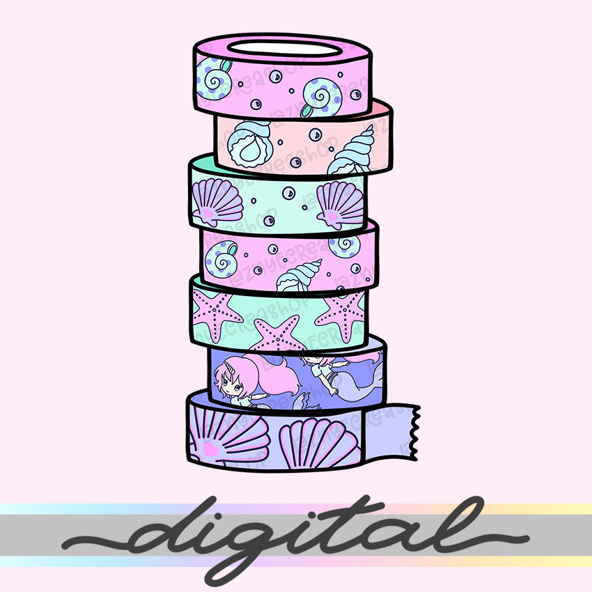 Printable Mermaid Washi Diecut, Washi Tape Rolls, Rainbow, Hand Draw, Diecut, Pastel, Cute, Planner Supplies, Kawaii, Doodle, Clipart, PNG