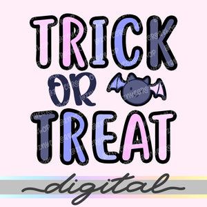 Printable Trick or Treat Halloween Quote Die Cuts, Cute Hand Draw Cliparts, Fall, Pumpkin, Kawaii, Doodle, Printable Planner, PNG