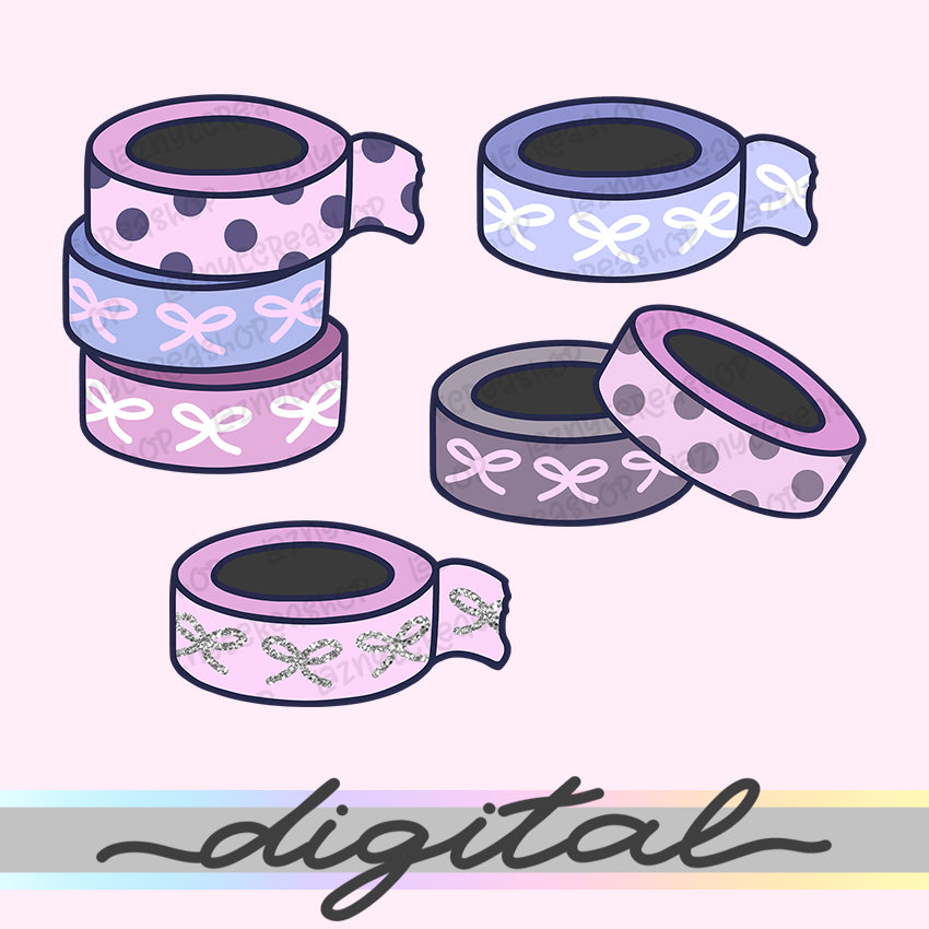 Printable Cute Washi Die Cuts, Washi Tape Rolls, Pastel, Cute Washi, Cliparts, Clip Art, Kawaii Doodle, Bullet Journal, TN Die Cuts, Planner
