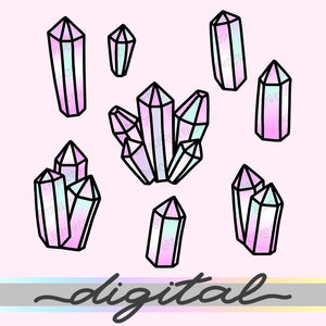 Printable Crystal Diecuts, Gems, Minerals, Stones, Diamonds, Cliparts, Clip Art, Kawaii Doodle, Bullet Journal, TN Die Cuts, Planner