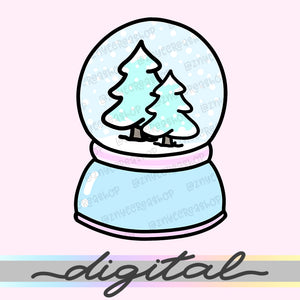 Printable Snow Globe Winter Diecut, Snow, Christmas, Hand Draw Clipart Diecut, Planner Supplies, Kawaii, Doodle, Clipart, PNG