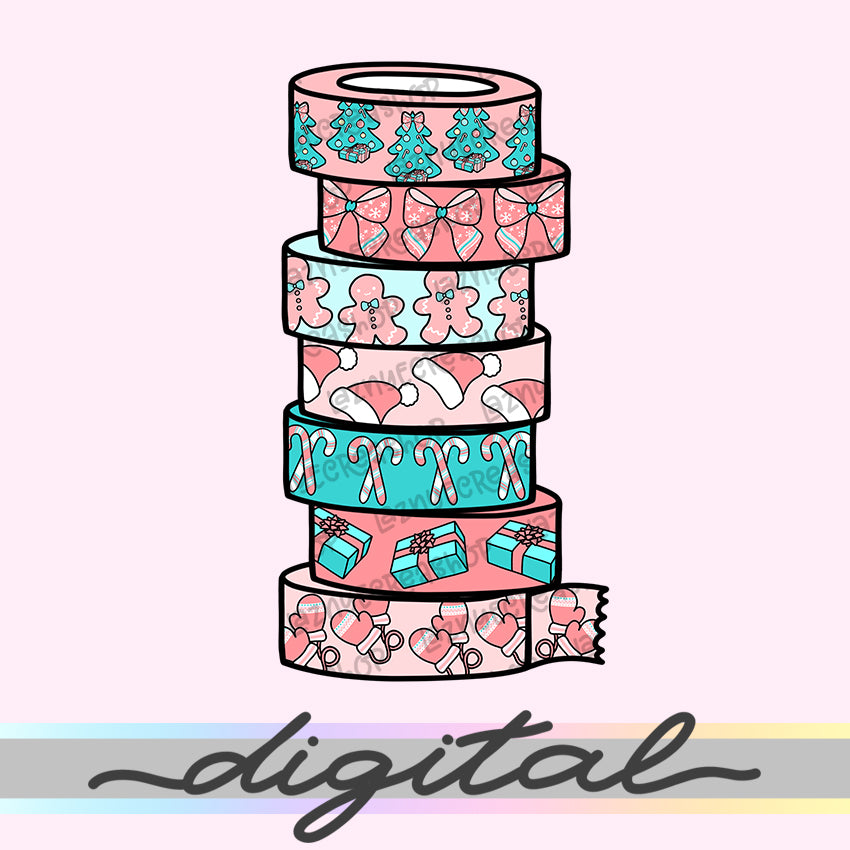 Printable Christmas Washi Diecut, Washi Tape Rolls, Snow, Winter, Hand Draw, Diecut, Cute, Planner Supplies, Kawaii, Doodle, Clipart, PNG