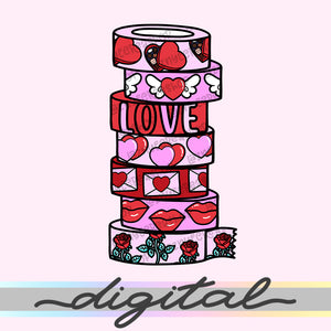 Printable Valentine Washi Die Cuts, Washi Tape Rolls, Love, Heart, Hand Draw, Diecut, Cute, Planner Supplies, Kawaii, Doodle, Clipart, PNG