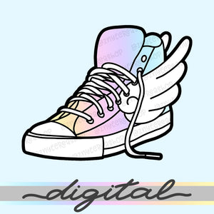 Printable Wings Shoe Diecut, Rainbow, Hand Draw, Diecut, Pastel, Cute, Planner, Kawaii, Doodle, Clipart, Clip arts, PNG, Download
