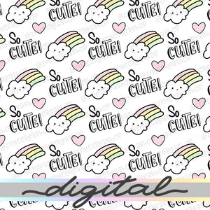 Printable Rainbow Cloud Digital Planner Paper, Paper Vellum, Doodle, Hand Draw, Cute, Bullet Journal, TN Vellum, JPG, PDF, Download