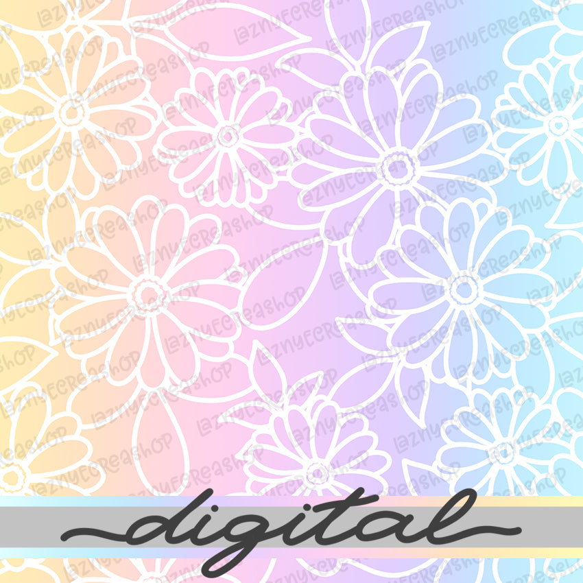 Printable Spring Rainbow Flower Digital Planner Paper, Paper Vellum, Doodle, Hand Draw, Cute, Bullet Journal, TN Vellum, JPG, PDF, Download
