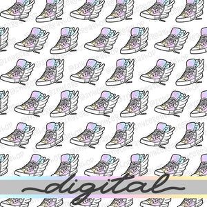 Printable Wings Shoe Digital Planner Paper, Rainbow Paper Vellum, Doodle, Hand Draw, Cute, Bullet Journal, TN Vellum, JPG, PDF, Download