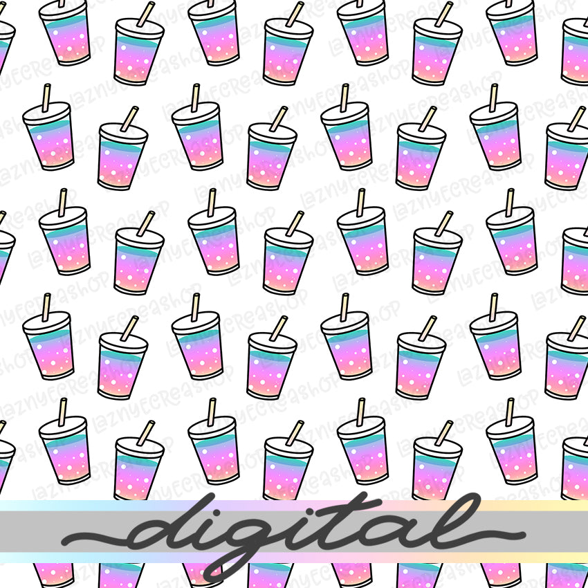 Printable Rainbow Drink Cup Digital Planner Paper, Paper Vellum, Doodle, Hand Draw, Cute, Bullet Journal, TN Vellum, JPG, PDF, Download