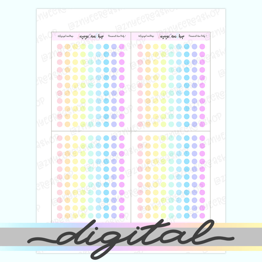 Printable Tiny Dot Stickers, Coding Stickers, Code, Rainbow, Pastel, Erin Condren, Functional, Happy Planner, Bullet Journal