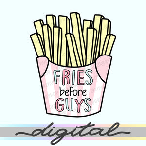 Printable Fries Before Guys Die Cuts, Cute Planner Die Cut, Kawaii Doodle, Clipart, Clip arts, TN, Traveller's Notebook, PNG, Download
