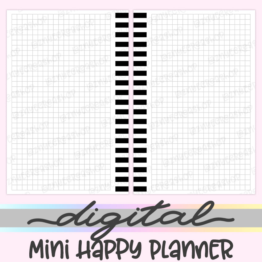 Printable Mini Happy Planner Grid Inserts, Grid Notes, Digital Mini Happy Planner Inserts, HP Inserts, PDF, Digital Download