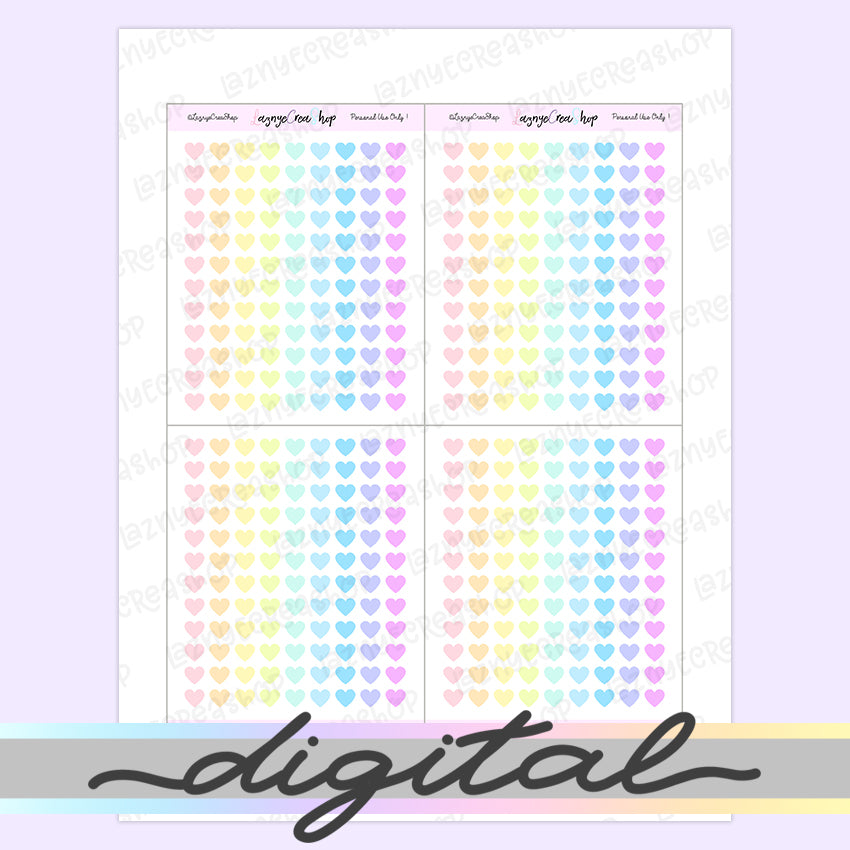 Printable Tiny Heart Stickers, Coding Stickers, Code, Rainbow, Pastel, Erin Condren, Functional, Happy Planner, Bullet Journal