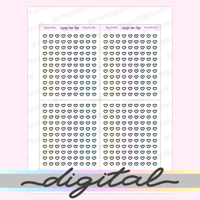 Printable Tiny Heart Stickers, Rainbow Stickers, Coding Stickers, Code, Pastel, Erin Condren, Functional, Happy Planner, Bullet Journal