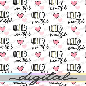 Printable Hello Beautiful Digital Planner Paper, Paper Vellum, Doodle, Hand Draw, Cute, Bullet Journal, TN Vellum, JPG, PDF, Download