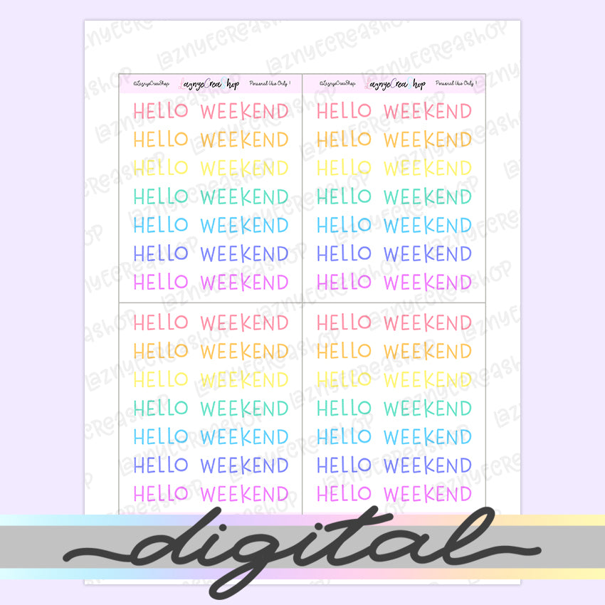 Printable Hello Weekend Word Stickers, Rainbow, Pastel, Weekend, Planner Stickers, Functional Stickers, Bullet Journal Stickers
