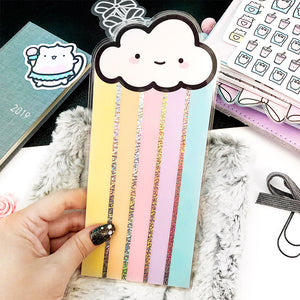 Hobonichi Rainbow Cloud Holo Glitter Bookmark, Vinyl Bookmarks, Laminated, Planner Page Marker, Planner Die Cut, Bow Die Cut, Kawaii bookmark, kawaii planner page marker