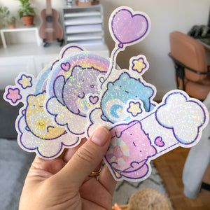 Care Cats Vinyl Stickers, Rainbow Cat, Holographic Foil vinyl Stickers, Cute Planner Diecuts, Doodle Planner Diecut