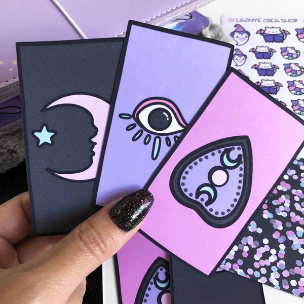Planner Witches Deck Cards Diecut, Ouija, Spooky, Halloween, Moon Phase, Moon Child, Pastel Goth, Cute Diecut, Kawaii Diecut, Doodle Planner Diecut, Kawaii Doodle