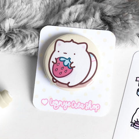 Strawberry Cat Button Badge, Button pins, Kawaii Button Badges, Cute pins, Cat Badge