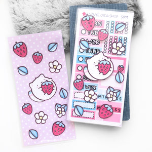 Hobonichi Sticker Pouch, PP weeks sticker stach, Strawberry Cat Sticker Pocket, Laminated Planner Pouch, Laminated Planner Pocket,  Sticker Stach