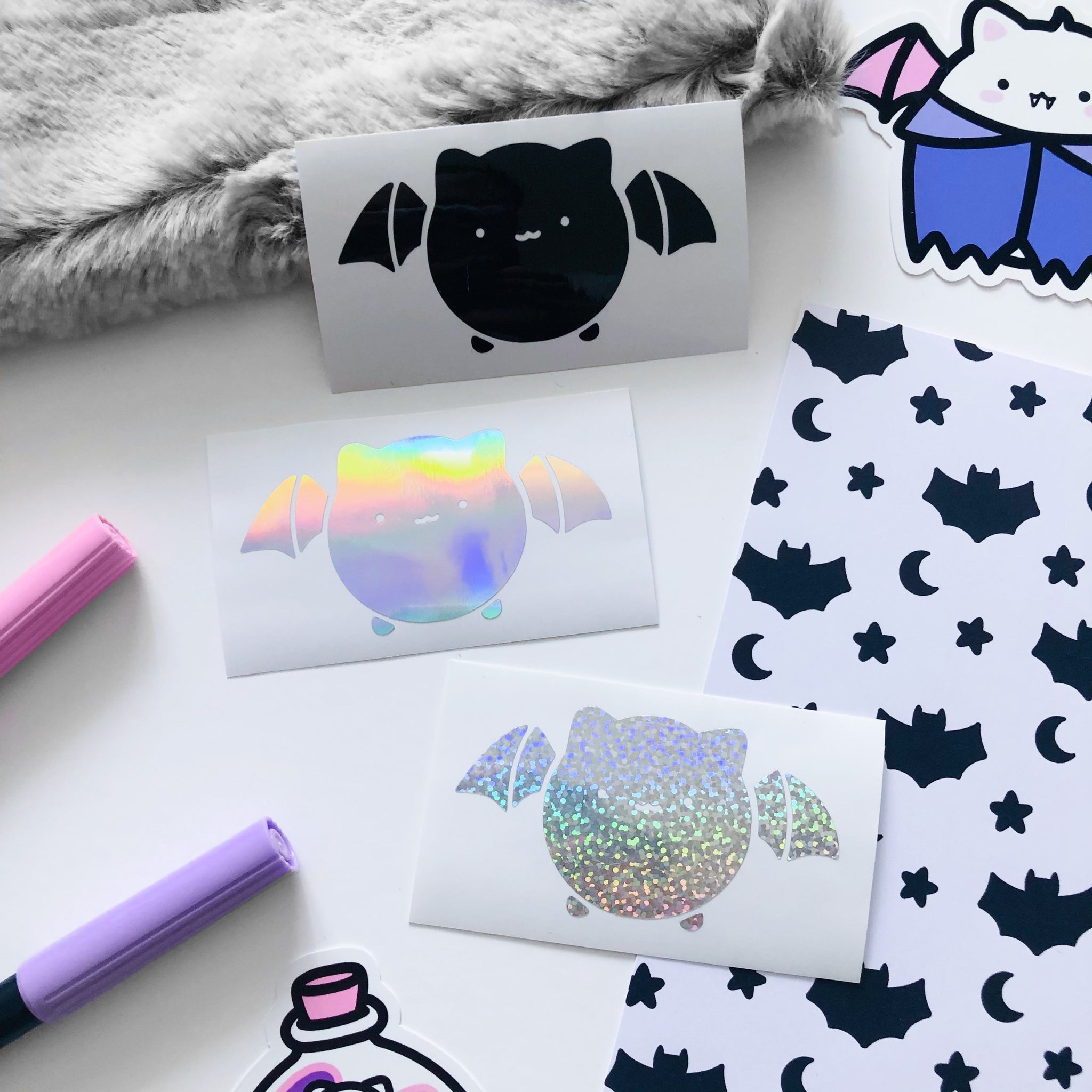 Halloween Bat Cat Vinyl Decal, Vinyl Decal, Planner Vinyl Stickers, Holo Silver Vinyl Decal, Holographic Glitter Stickers