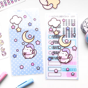 Moon Sticker Pocket, Hobonichi Sticker Pouch, PP weeks sticker stach, Laminated Planner Pouch, Laminated Planner Pocket,  Sticker Stach
