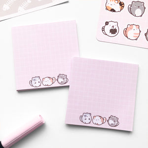 Pink Cats Memo Pad, Cute Handmade Memo Pads, Memopads, Notepad, Notes, Memo, Bloc notes mignon
