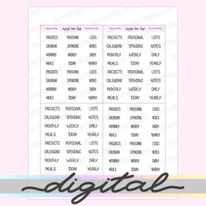 Printable Word Stickers, Monthly, Weekly, Spending, Notes, List, Daily, Today, Label Tabs, Functional, Planner Stickers, Bullet Journal
