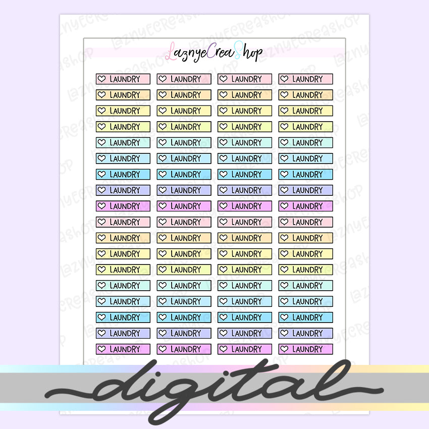 Printable Laundry Checklist Stickers, To Do Heart Rainbow Pastel Erin Condren, Functional, Boxes, Happy Planner, Planner, Bullet Journal