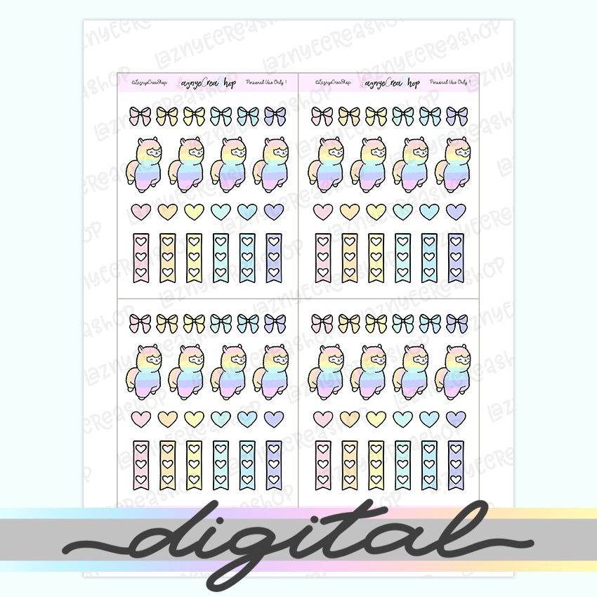 Printable Llama Stickers, Pastel Stickers, Hand Draw Banner Check List Stickers, Erin Condren, Functional, Happy Planner Bullet Journal