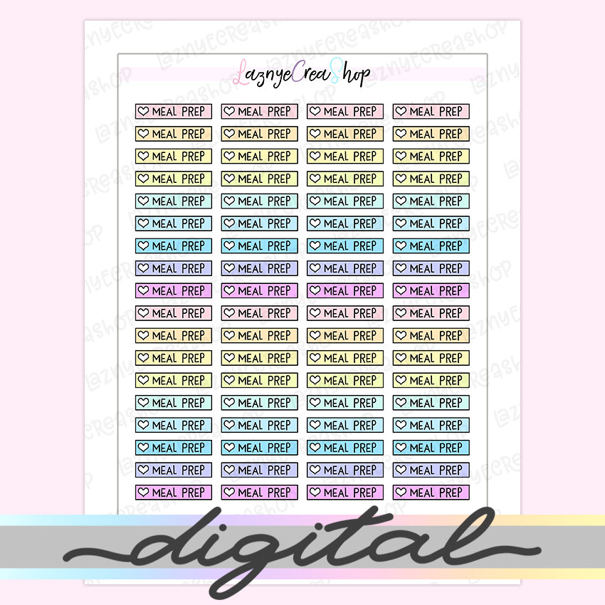 Printable Meal Prep Checklist Stickers, To Do Heart Rainbow Pastel Erin Condren, Functional, Boxes, Happy Planner, Planner, Bullet Journal